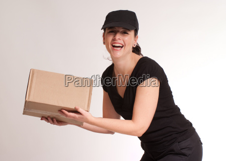 laughing delivery girl