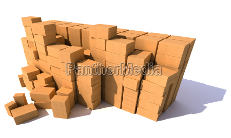 huge piles of cartons