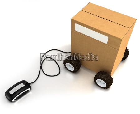 carton on wheels connected to a