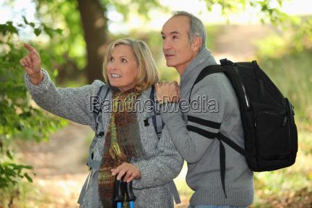 older couple in woods