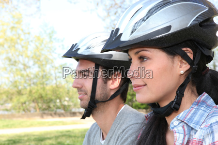 young couple on bicycle ride