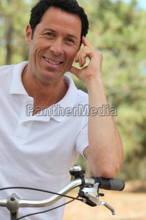 man enjoying bike ride
