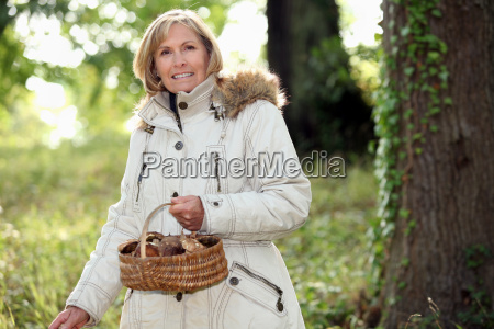 senior woman collecting mushrooms in the