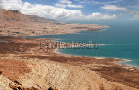view on dead sea coastline and
