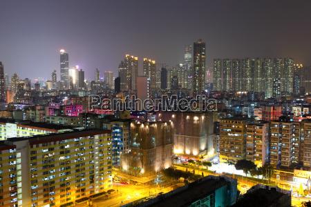 apartment buildings at night