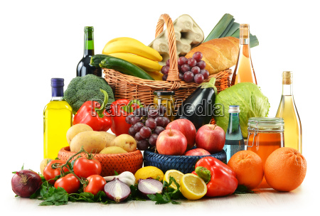 composition with groceries and basket isolated
