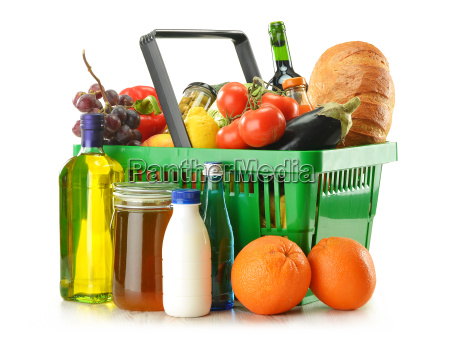 shopping basket with grocery products isolated