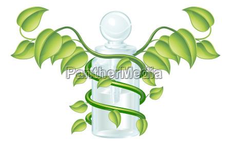 natuerliche caduceus flasche konzept