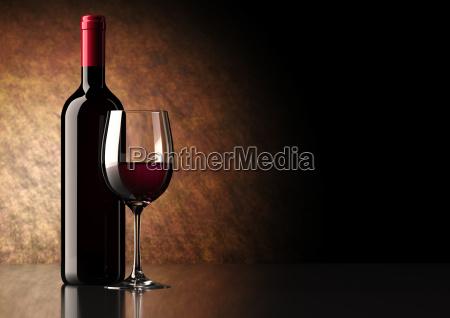 rotwein-flasche, mit, glas - 6491467