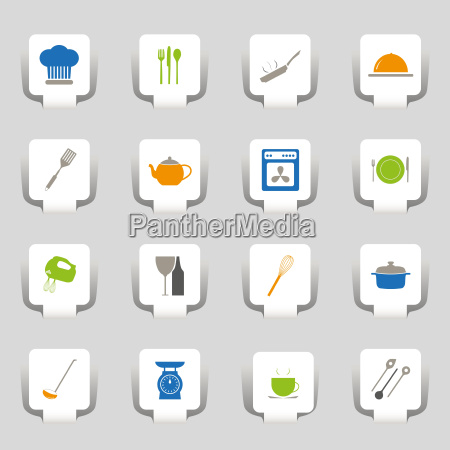 16 web icons kuechenutensilien