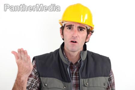 annoyed builder