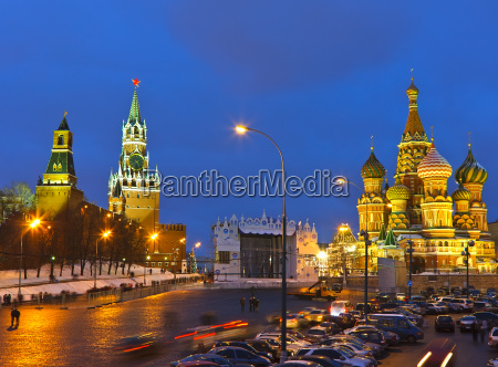 red square at night moscow
