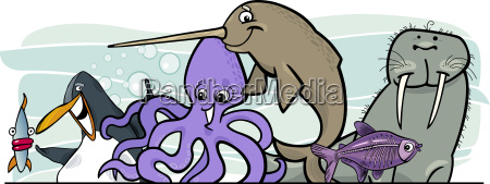 cartoon sea life animals design