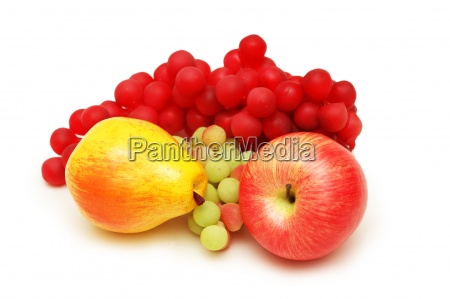 apple pear and grapes isolated on