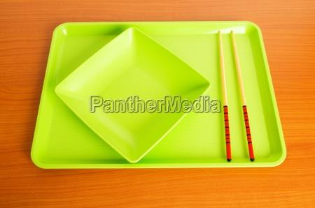 asiatische lebensmittel konzept mit platte und