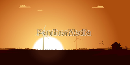 windmills inside summer landscape