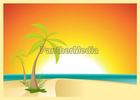 exotic beach postcard