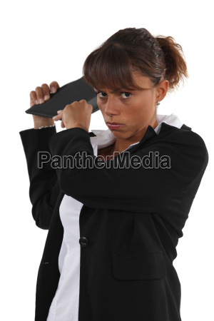 young businesswoman looking angry