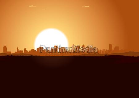 fahrt, reisen, stadt, baum, horizont, wüste - 7881563