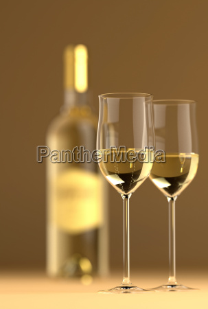 wine bottle with glass