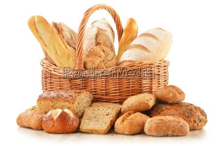 bread and rolls in wicker