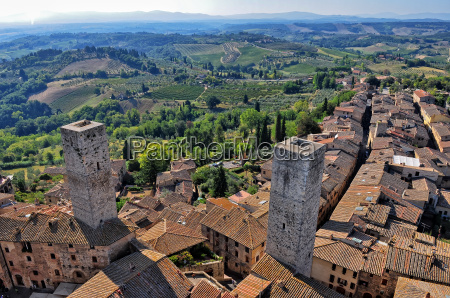 tuscan village san gimignano view from