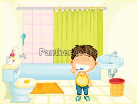 brushing boy