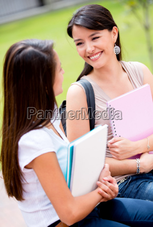 female students talking