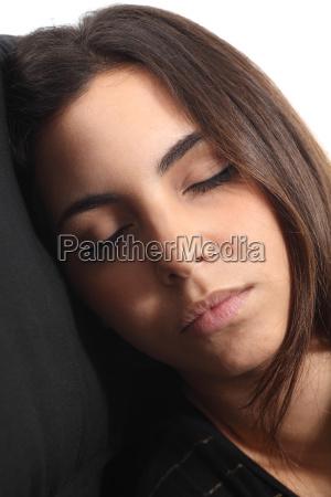 beautiful girl sleeping portrait