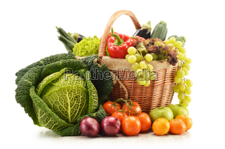 composition with grocery products in wicker