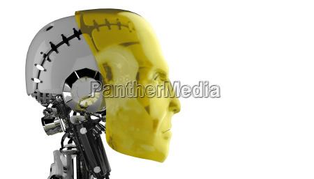seitenansicht roboter kopf gelb