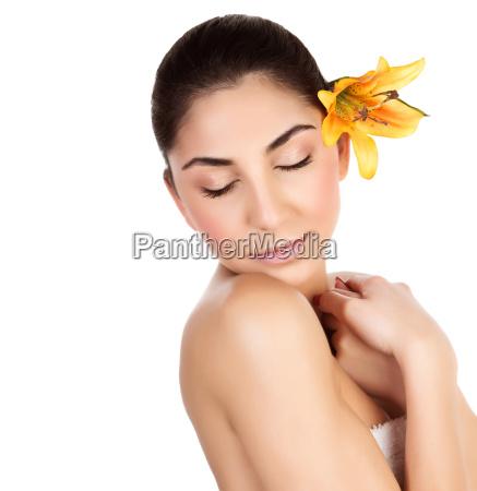 female enjoying day spa