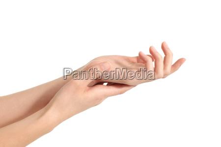 beautiful woman hands rubbing