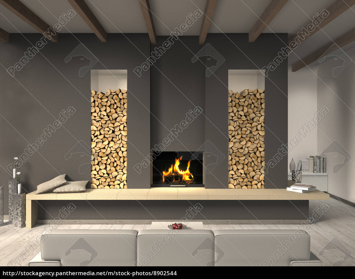 wohnzimmer mit kamin und balkendecke lizenzfreies foto 8902544 bildagentur panthermedia. Black Bedroom Furniture Sets. Home Design Ideas