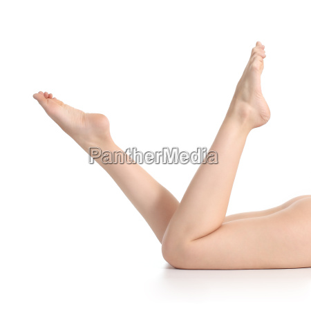beautiful naked woman legs upside down