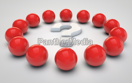 red spheres and a question mark