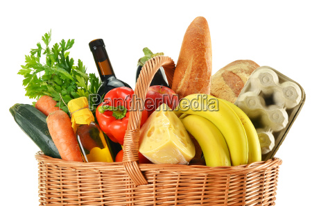 wicker basket with variety of grocery