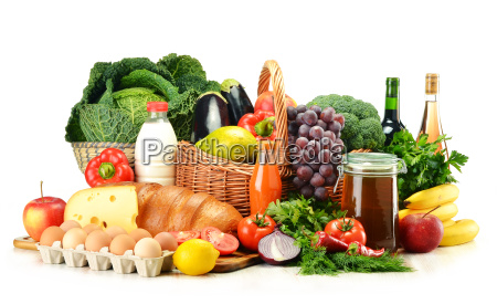 grocery products including vegetables fruits dairy