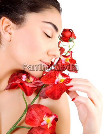 arabic woman with red orchid