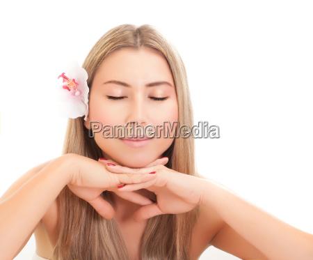 cute female in spa salon