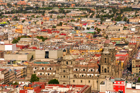 aerial view of mexico city cathedral