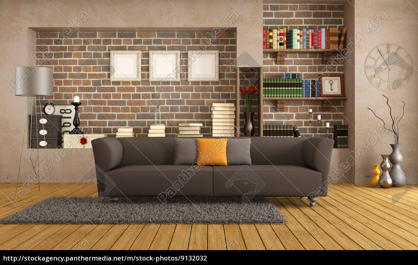 modern sofa in einem vintage-wohnzimmer - lizenzfreies foto ... - Wohnzimmer Modern Vintage