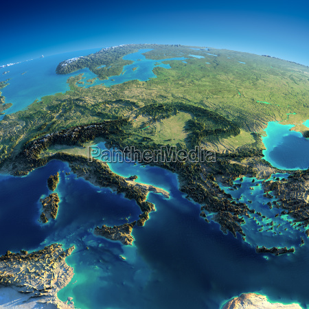 detailed earth italy greece and the