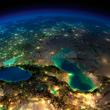 night earth caucasus and the caspian