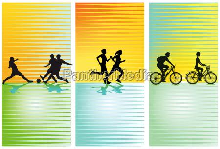 sportarten fussball laufen radfahren
