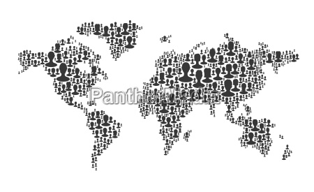 world map composed from many people