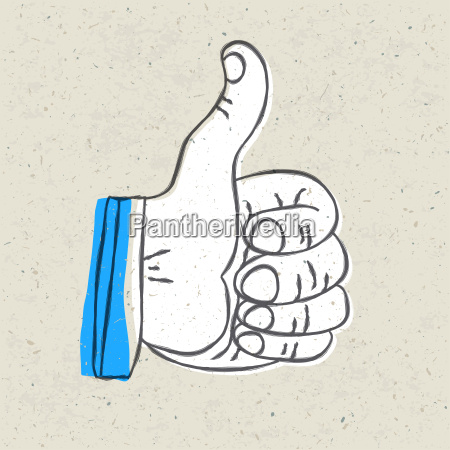 retro styled thumb up symbol vector