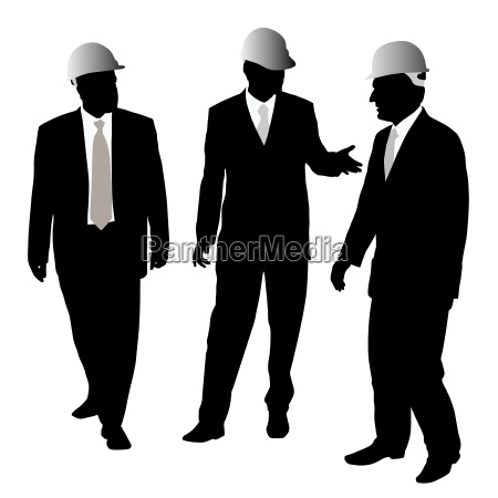 three businessmen architects or engineers vector