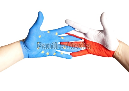 handshake between europe and poland