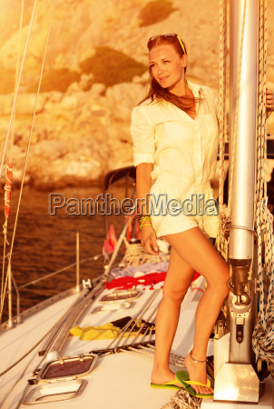beautiful model on the yacht on